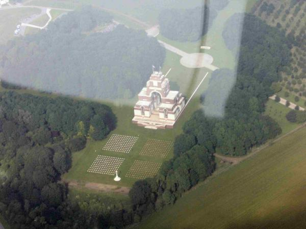Aerial view of Thiepval Cemetery